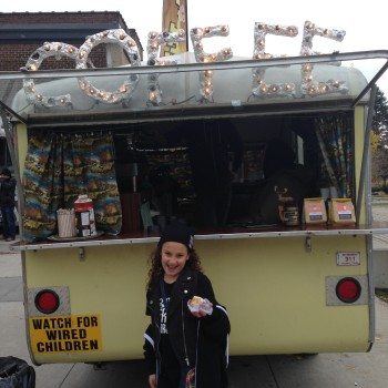 Lily in front of Detour Coffee Mobile