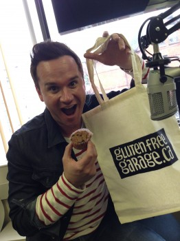 We felt bad we didn't bring Mike's favourite— poutines—but he was thrilled with his muffin and his GFG bag.