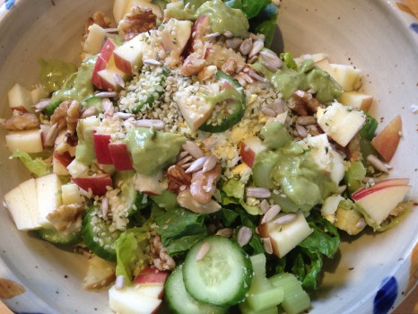 """Mary Jane topped my """"everything but the kitchen sink"""" cleanse-friendly salad."""