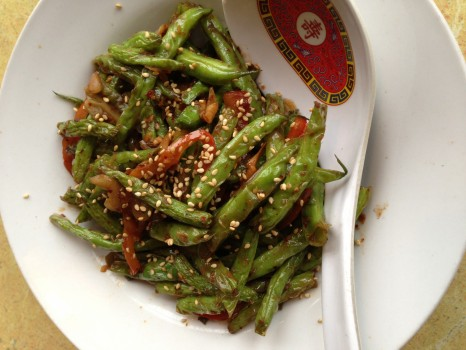 Wok-fried spicy green beans with chili sauce and toasted sesame seeds from Supermarket restaurant