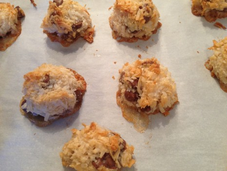 Golden brown coconut, melted chocolate chips...