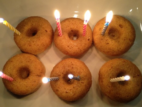 We had some leftover donuts so we stuck 8 candles in them and had them again for dessert.