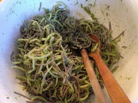 Zucchini and soba noodle pasta with ramp pesto.