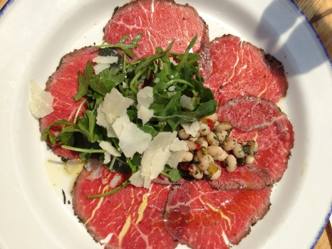 Carpaccio made the carnivores at the table happy.