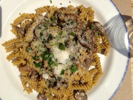 Executive chef Daniel Mezzolo dished up a special gluten-free fusilli al funghi