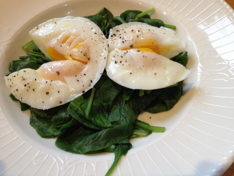 Some days I got fancy and poached a couple of good eggs on a bed of spinach. Protein, check. Greens, check.