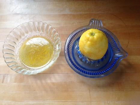 Make vinaigrette: In a small bowl, combine 1 tsp white wine vinegar, lemon juice, honey, lemon rind, olive oil and salt. Whisk.