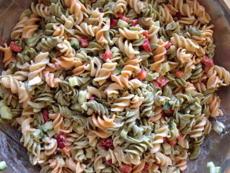 Quick and easy tri-colour pasta salad.