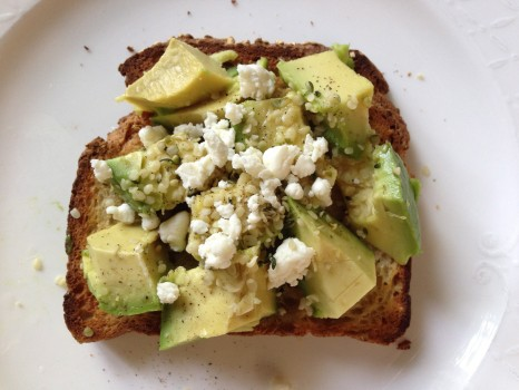 Avocado goat cheese toast=GF toast, avocado, honey goat cheese, pepper, lime juice