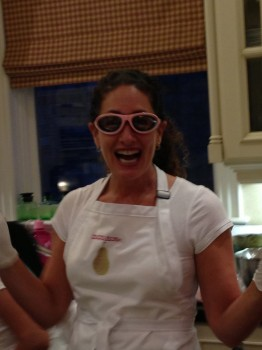 No more tears: Delicious Dish's Carolyn Cohen dons her onion goggles.