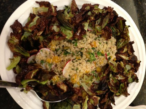 Herbed quinoa salad with Brussels sprouts collar