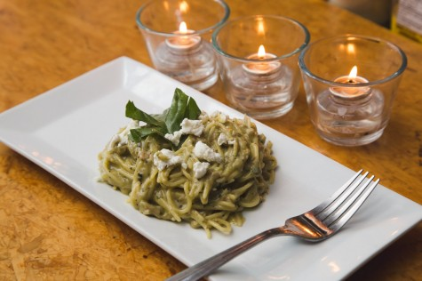 Spaghetti with fava bean pesto