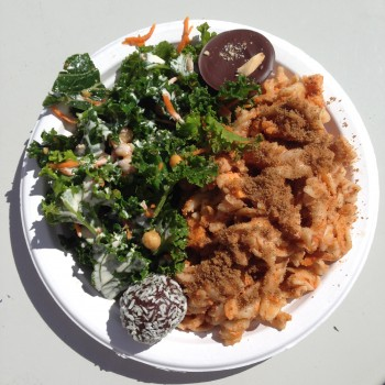 "Green Zebra Kitchen's GF mac and ""cheese"" and kale salad with a couple of treats for later."