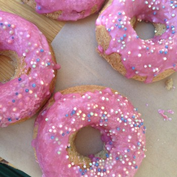 We found what were looking for! Tori's pink donuts are a much-coveted baked good in our household!