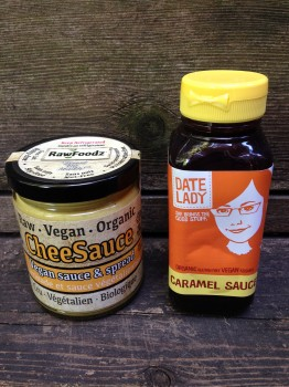 My 2 new gluten-free finds: Cheesauce from Raw Foodz (melt it over cauliflower and weep) and The Date Lady's caramel
